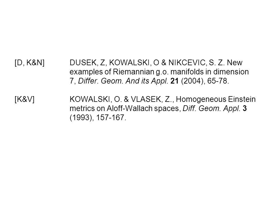[D, K&N]. DUSEK, Z, KOWALSKI, O & NIKCEVIC, S. Z. New